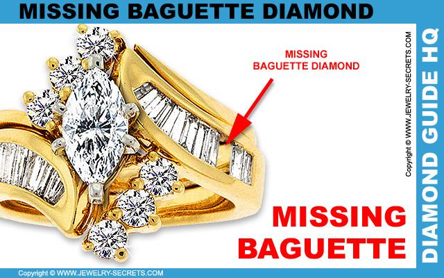 Missing Baguette Cut Diamond