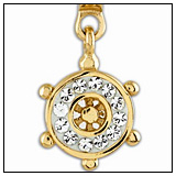 Blinging Crystal Ships Wheel Charm