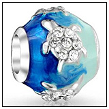 Blue Sea Turtle Charm Bead