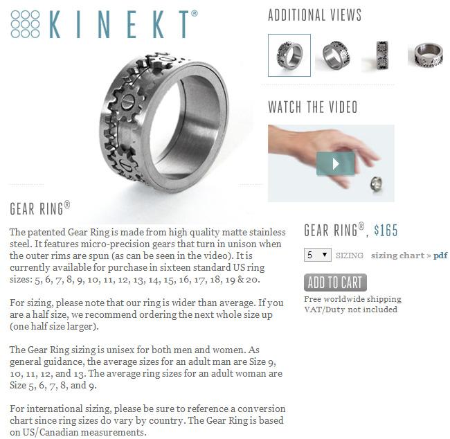 Kinekt Gear Ring Price