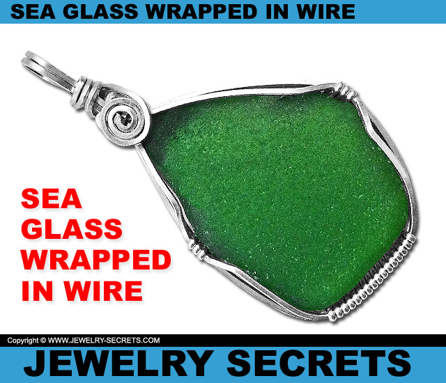 Sea Glass Wrapped In Wire