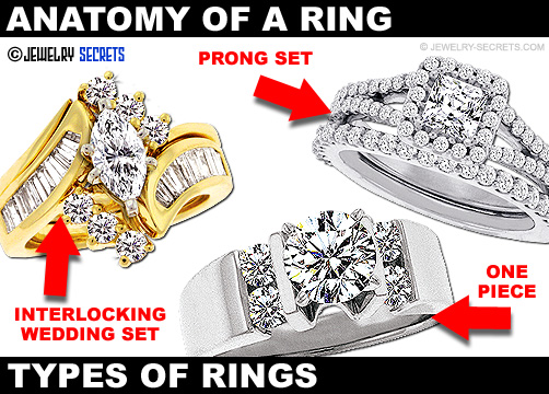 One Piece Prong Set Interlocking Wedding Rings