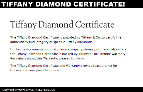 Tiffany Diamond Certificate