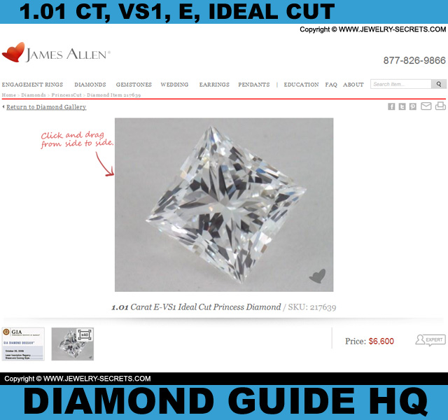 1.01 Carat VS1 E Ideal Princess Cut Diamond!