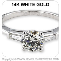 14k 3 Stone Engagement Ring