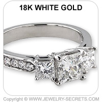 18k 3 Stone Engagement Ring