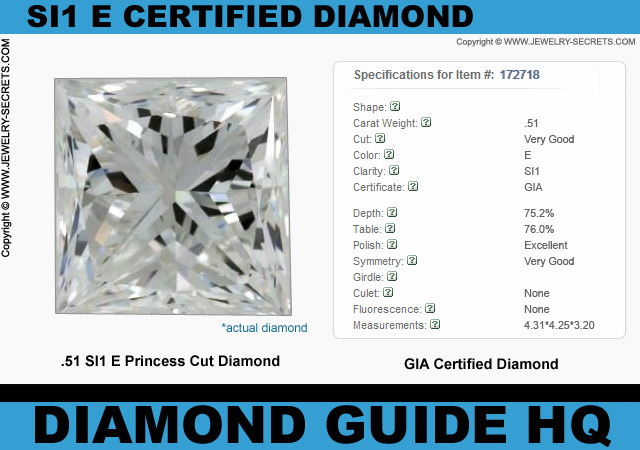 .51 SI1 E Certified Princess Cut Diamond Steal