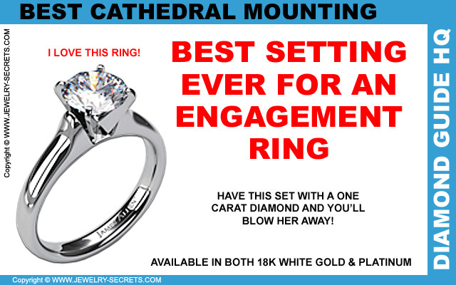 18k White Gold Heavy Contour Engagement Ring