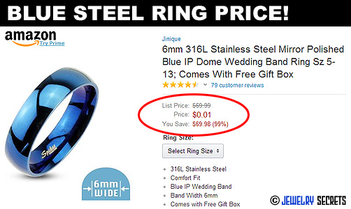 Blue Steel Ring Very Cheap Price