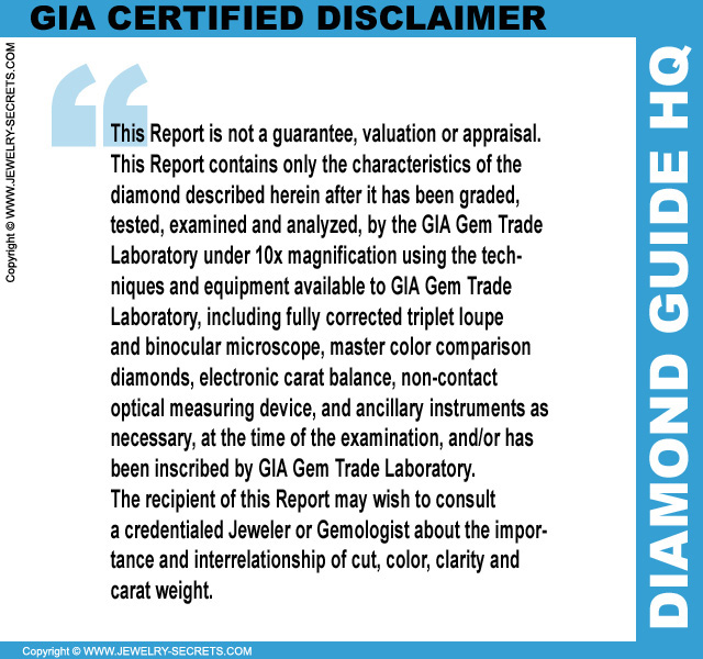 Certified Diamond Disclaimer