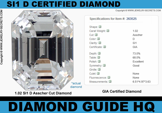 Certified SI1 D Asscher Cut Diamond