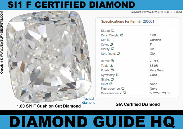 Certified SI1 F Cushion Cut Diamond