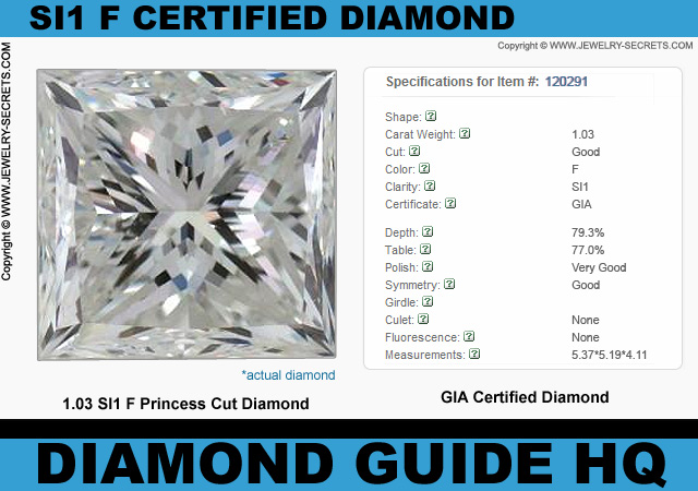 Certified SI1 F Princess Cut Diamond