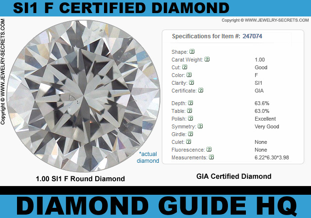 Certified SI1 F Round Good Cut Diamond