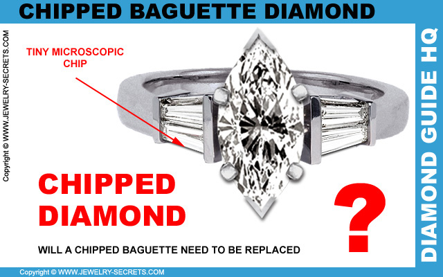 Chipped Baguette Diamond in Ring
