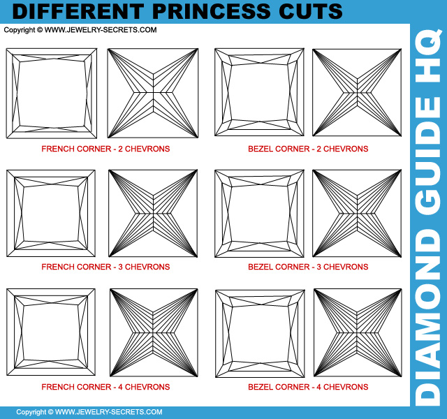 Different Princess Cut Diamond Chevron Cuts!