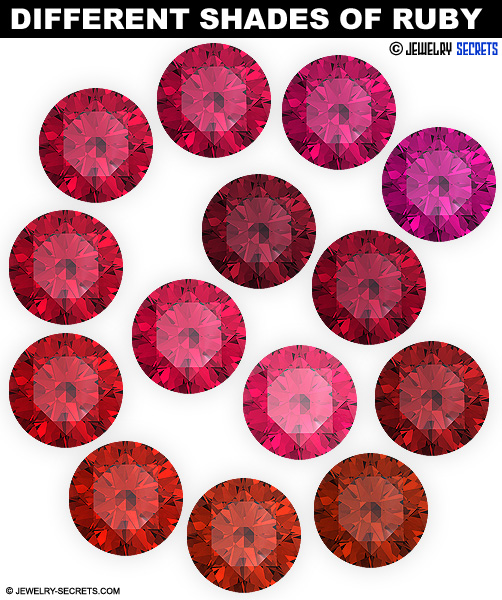 Different Shades Colors Hues Of Ruby