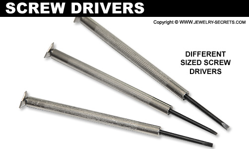 Different Sized Watch Screw Drivers