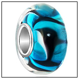 Dolphin Fish Murano Glass Charm Bead