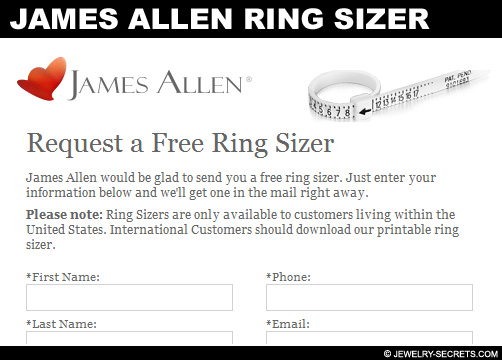 Free James Allen Plastic Ring Sizer