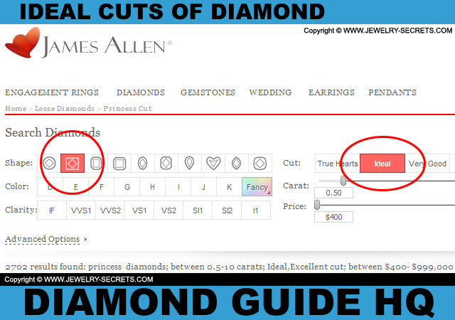Buy Ideal Princess Cut Diamonds!