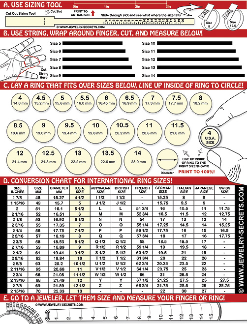FREE PRINTABLE RING FINGER SIZE CHART Jewelry Secrets – Diamond Size Chart Template