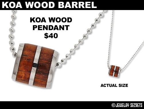 Koa Wood Barrel Pendant