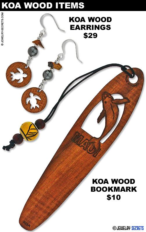 Koa Wood Earrings And Bookmark