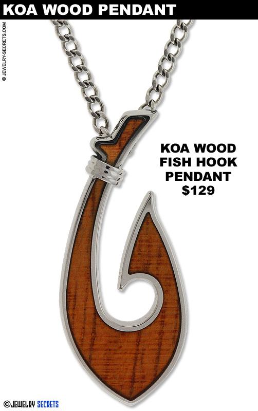 Koa Wood Fish Hook Pendant