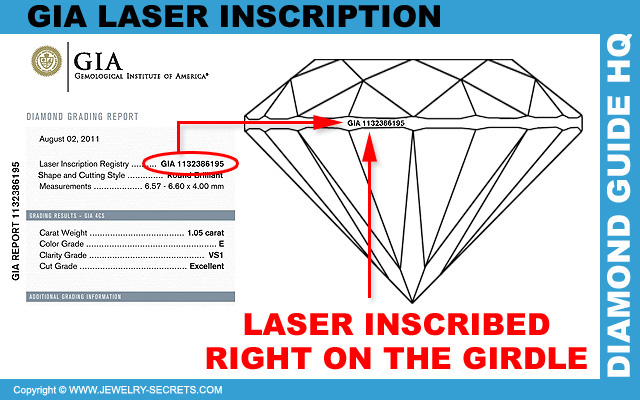 View Laser Inscriptions on the Diamond