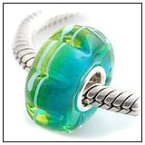 Ocean Blue And Green Scalloped Glass Bead