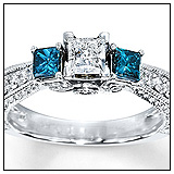 Kay Jewelers Blue Diamond Ring 1 carat tw Princess Cut 14K White Gold Engagement Ring