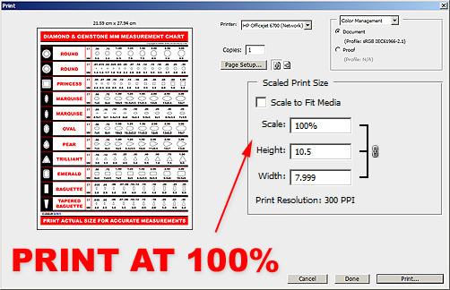 Print Diamond Measurement Chart PDF At 100 Percent
