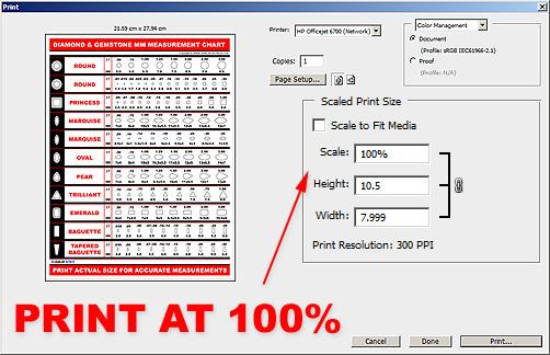 Print Diamond Measurement Chart PDF At 100 Percent