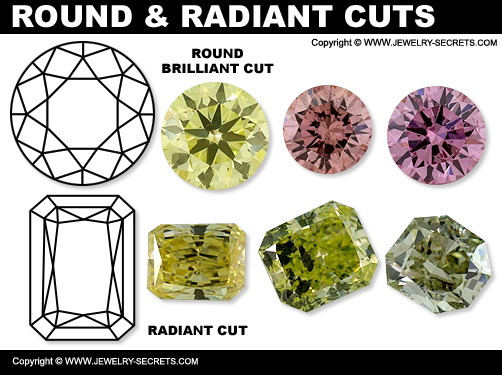 Round Brilliant Cuts And Radiant Cut Fancy Diamonds