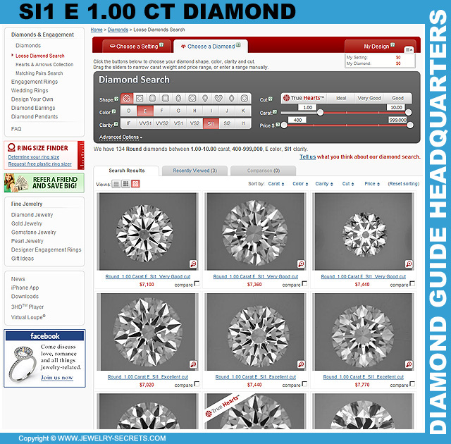 SI1 E 1 Carat Diamond Search