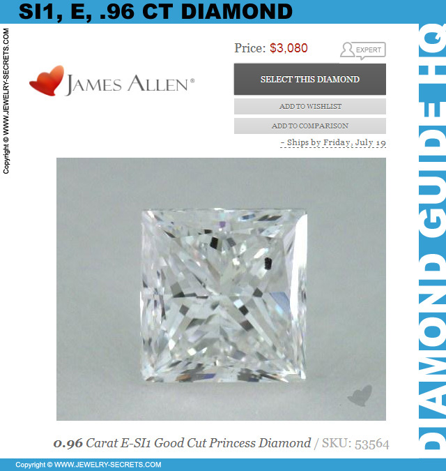 SI1 E 96 Princess Cut Diamond