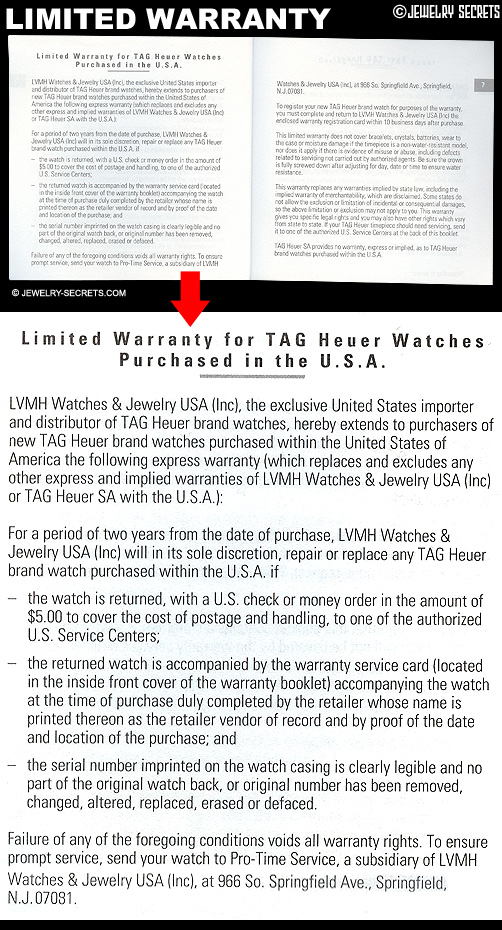 Tag Heuer Limited Warranty Booklet