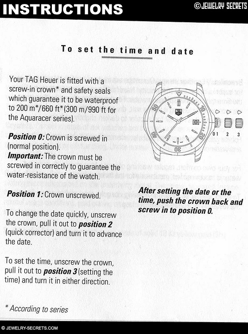 Tag Heuer Watch Instructions