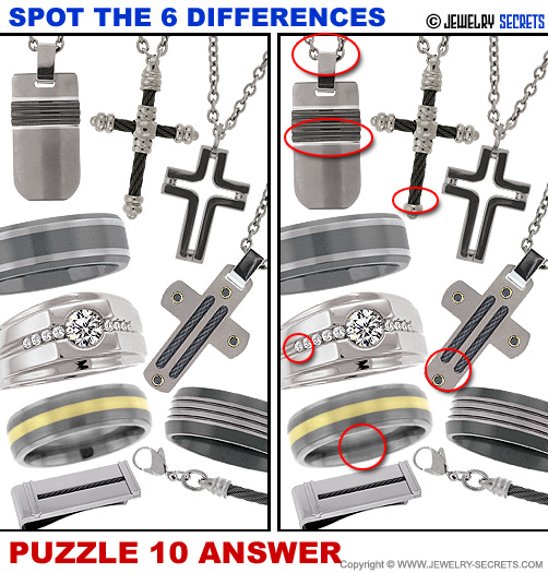 Spot The 6 Differences Fun Jewelry Puzzle 10 Solution Answer