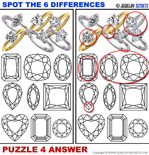 Spot The 6 Differences Fun Jewelry Puzzle 4 Solution Answer
