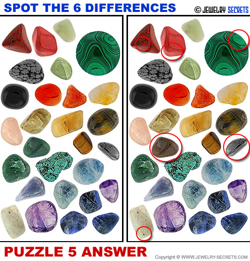 Spot The 6 Differences Fun Jewelry Puzzle 5 Solution Answer