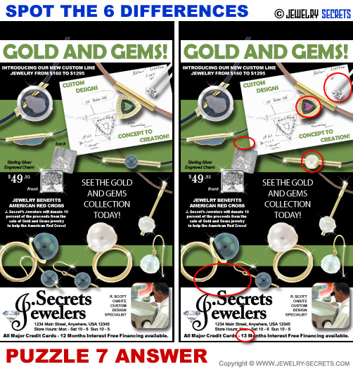Spot The 6 Differences Fun Jewelry Puzzle 7 Solution Answer