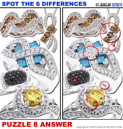 Spot The 6 Differences Fun Jewelry Puzzle 8 Solution Answer