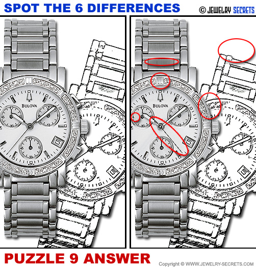 Spot The 6 Differences Fun Jewelry Puzzle 9 Solution Answer