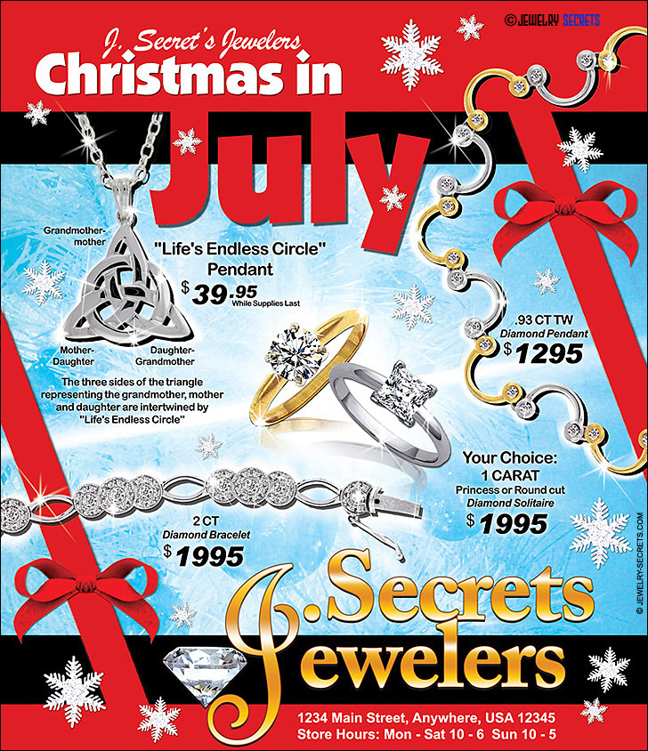 Jeweler's Christmas in July Ad Sample Advertisement