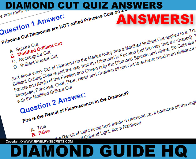 Diamond Cut Quiz Answers!
