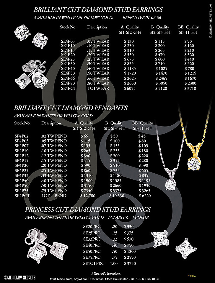 Diamond Earring Pendant Catalog Page Sample Advertisement