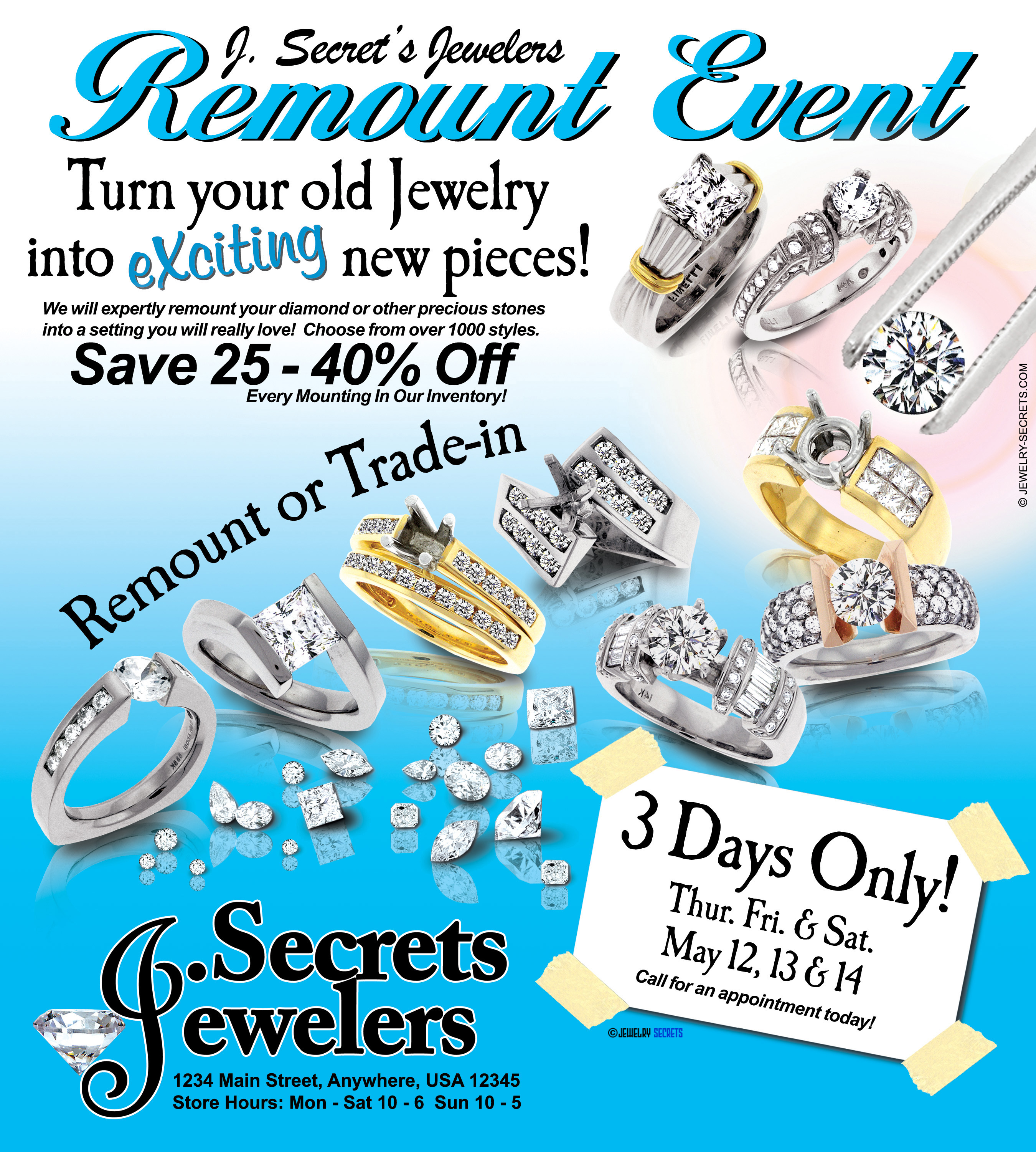 diamond remount event ad sample advertisement