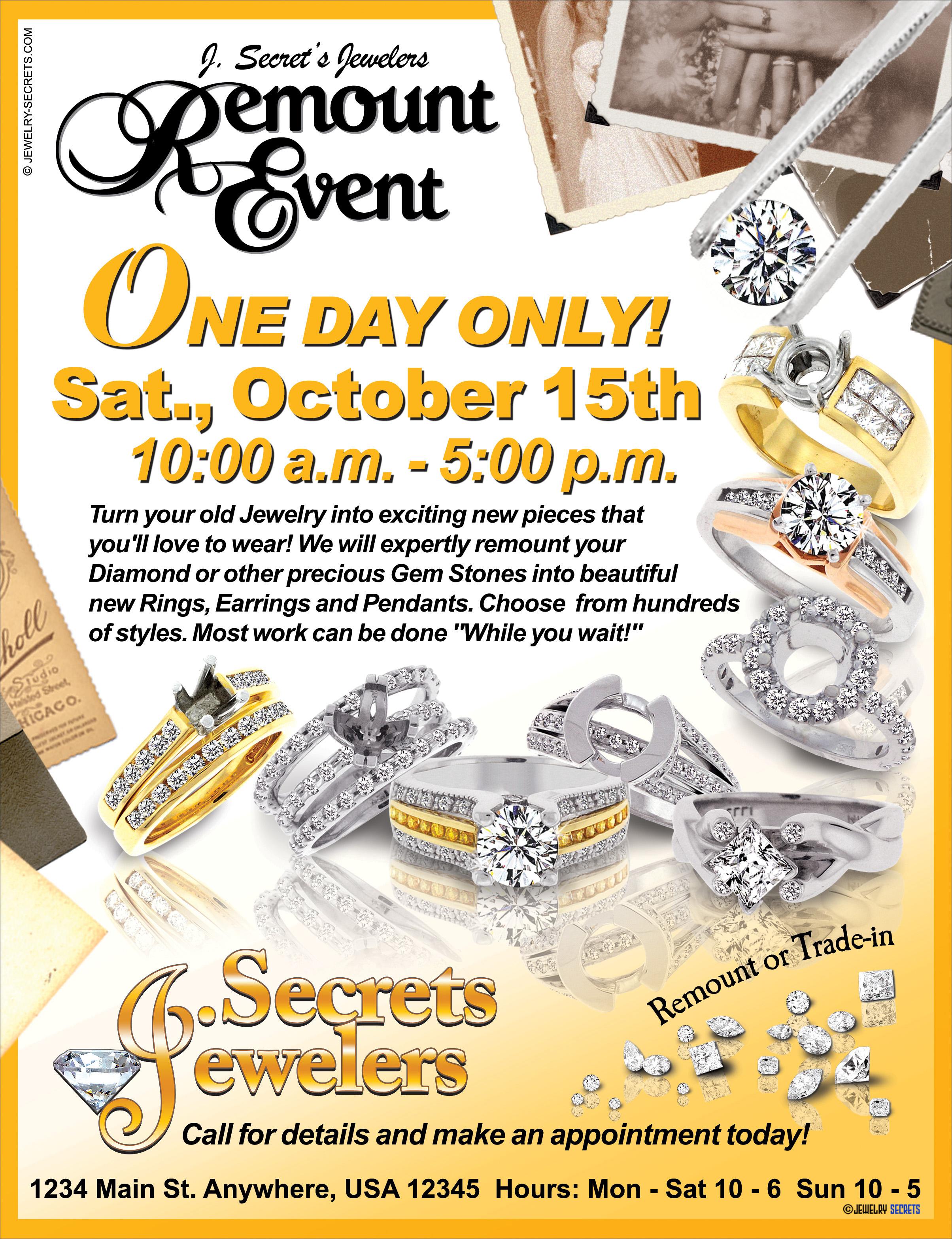DIAMOND REMOUNT SHOW SAMPLE ADVERTISEMENT – Jewelry Secrets